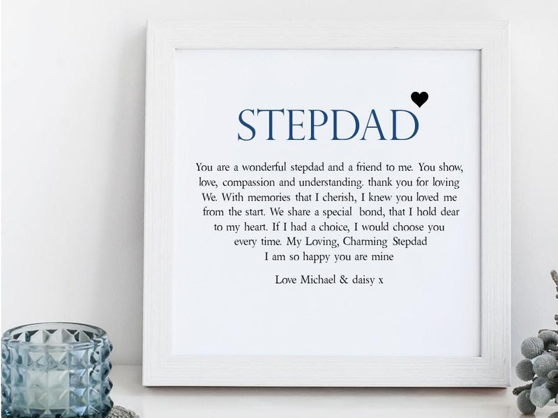 Stepdad Personalised Framed Poem | Special Bond - PureEssenceGreetings