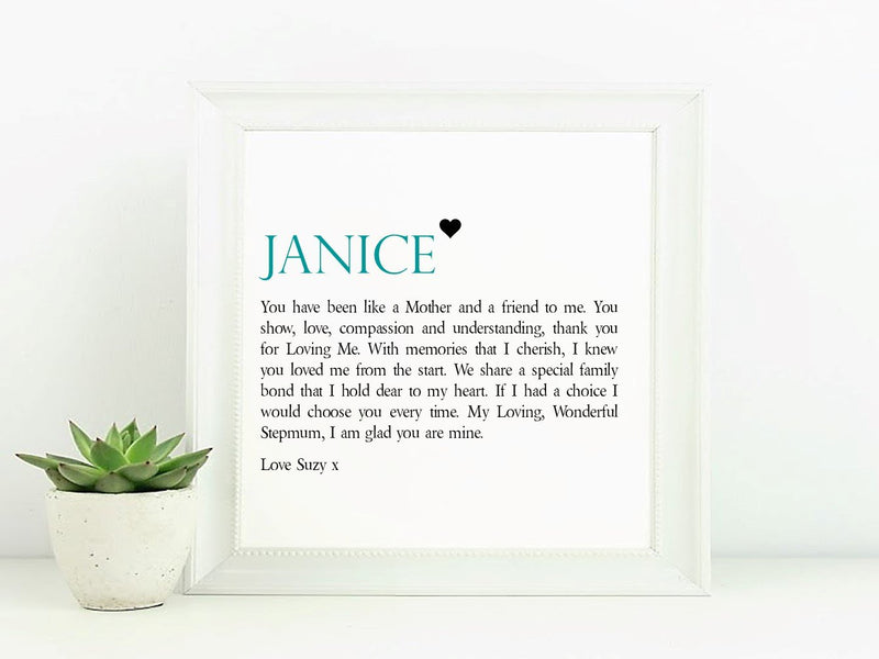 Stepmum Personalised Framed Verse