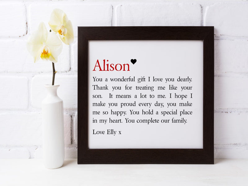 Stepmum Framed Personalised Verse