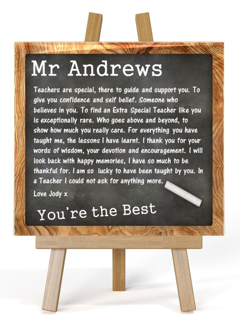 Teacher Personalised Plaque & Easel