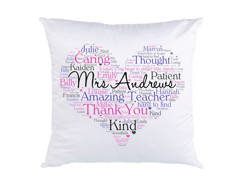 Personalised Teacher Cushion | Word Art Print - PureEssenceGreetings