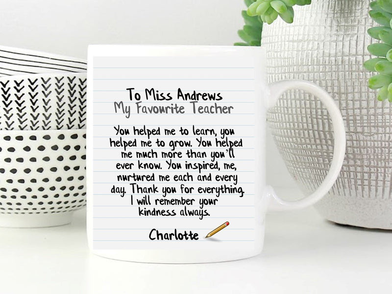Personalised Teacher Poem Mug - My Favourite Teacher - PureEssenceGreetings