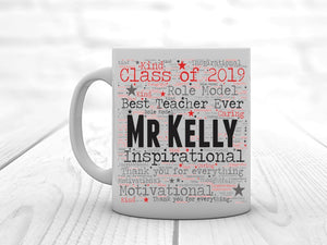 Personalised Teacher Mug | Word Art Print - PureEssenceGreetings
