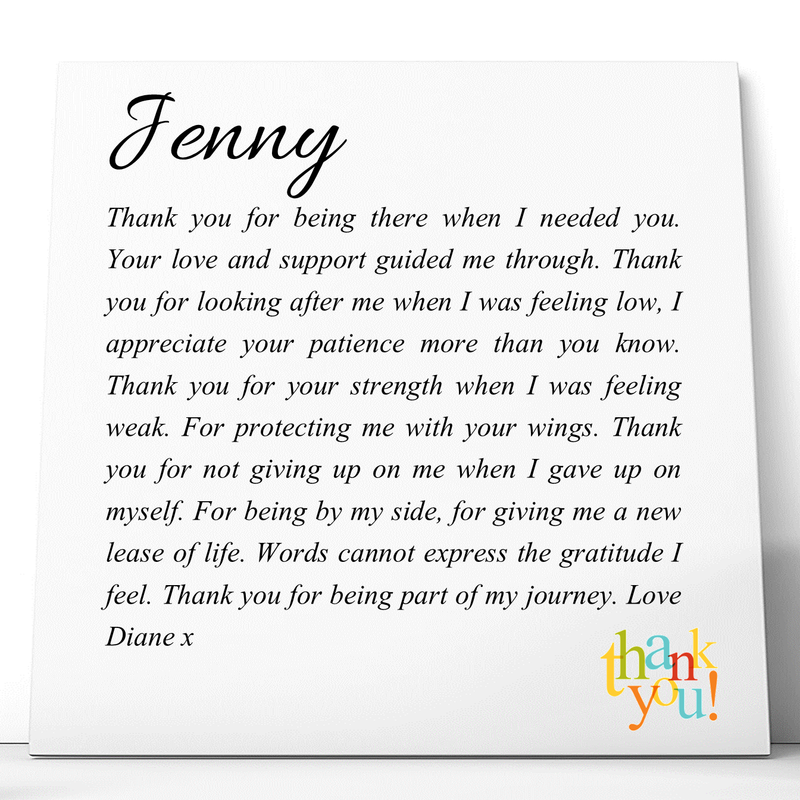 Thank You Personalised Ceramic Plaque - PureEssenceGreetings