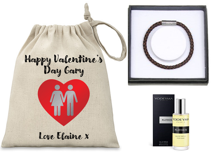 Valentine's Day Personalised Mens Gift Set - Filled with Yodeyma Parfum and EQ Leather Bracelet