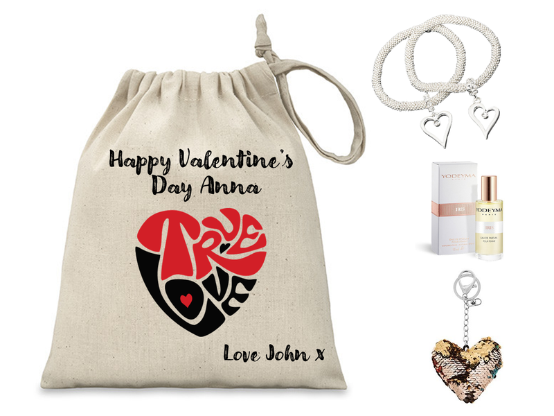 True Love Personalised Valentine's Gift Set | Yodeyma Perfume | Equilibrium Heart Bracelet - PureEssenceGreetings