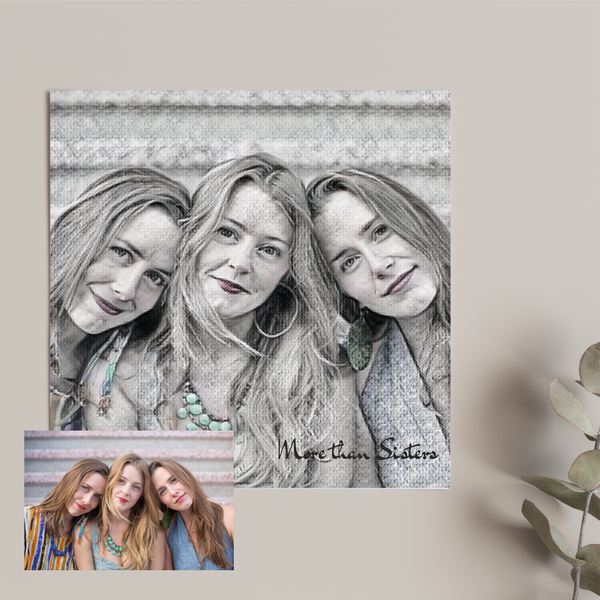 Personalised Digital Photo Card | Black and White Sketch Design