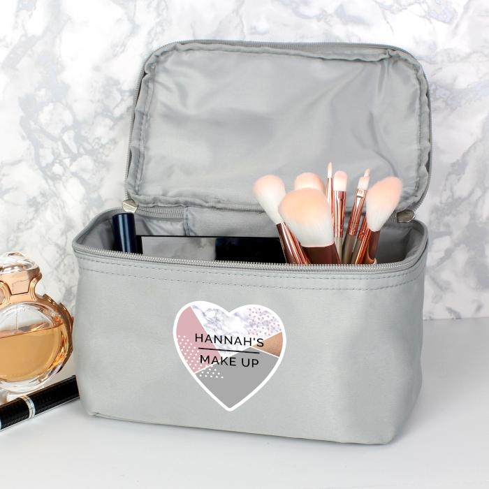 Personalised Geometric Grey Make Up Wash Bag - PureEssenceGreetings