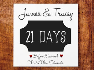 Mr and Mrs Personalised Wedding Countdown Fridge Magnet - PureEssenceGreetings