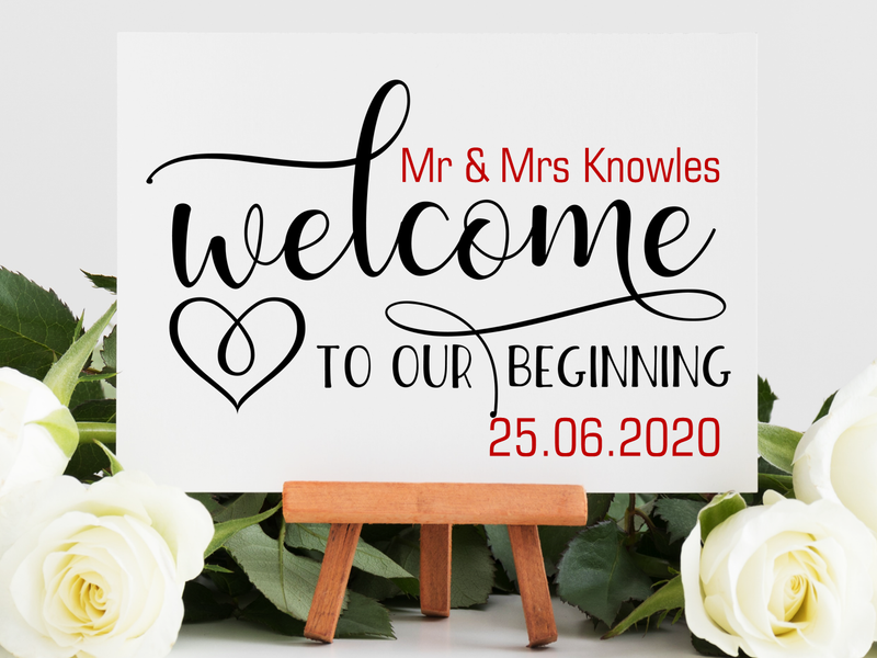 Wedding Day Welcome Table Top Sign - PureEssenceGreetings