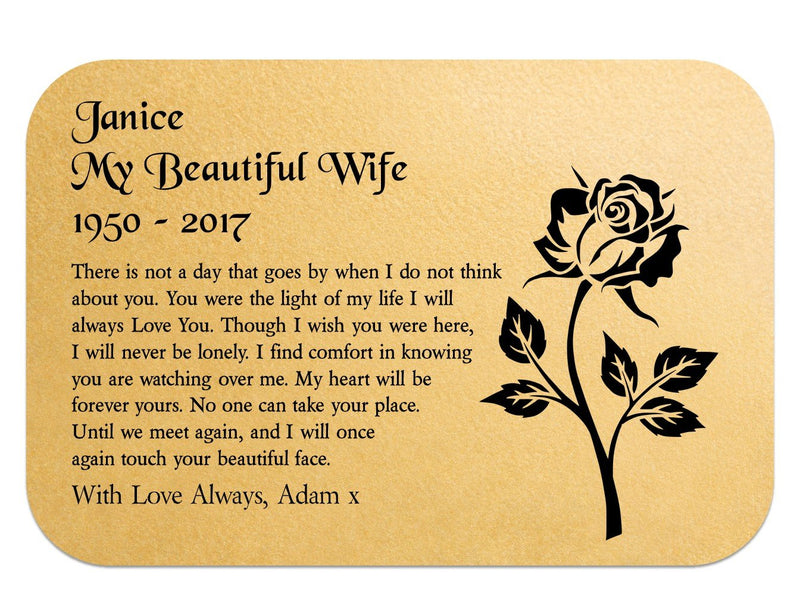 Wife Memorial Personalised Keepsake Wallet Card - PureEssenceGreetings