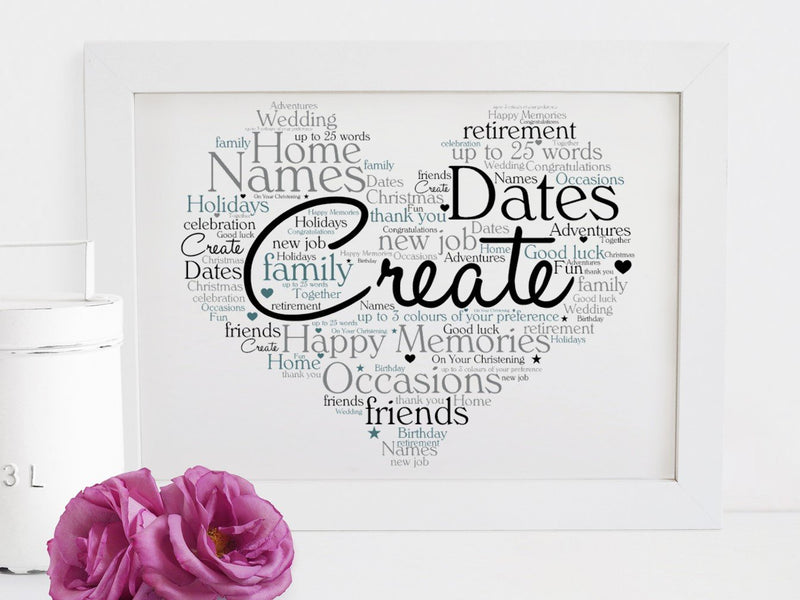 Create Your Own Heart Shaped Word Art Print | UNFRAMED | A4 - PureEssenceGreetings