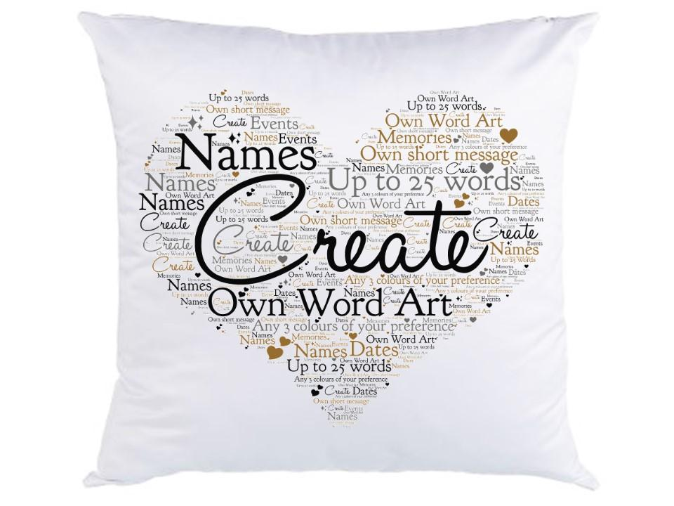 Personalised Faux Silk Word Art Cushion - Heart or Square Design