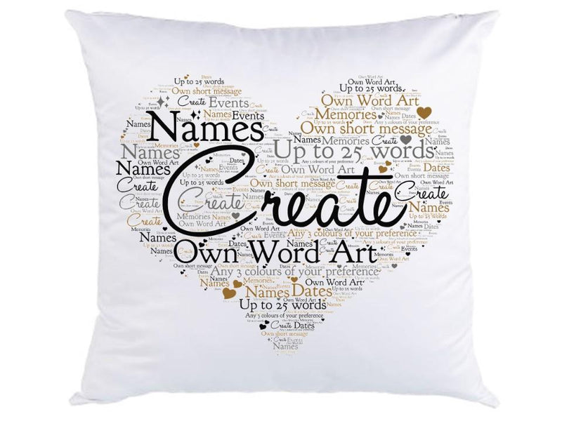 Personalised Faux Silk Word Art Cushion - Heart or Square Design - PureEssenceGreetings