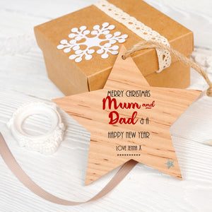 Personalised Mum  & Dad Christmas Hanging Star - PureEssenceGreetings