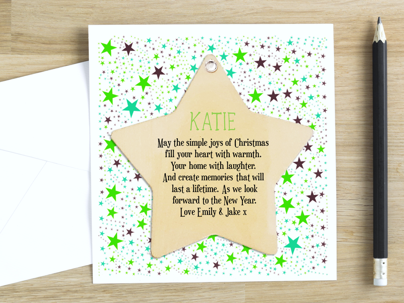 Simple Joys of Christmas Wooden Star Personalised Card - PureEssenceGreetings