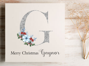 Personalised Floral Letter Design Christmas Card