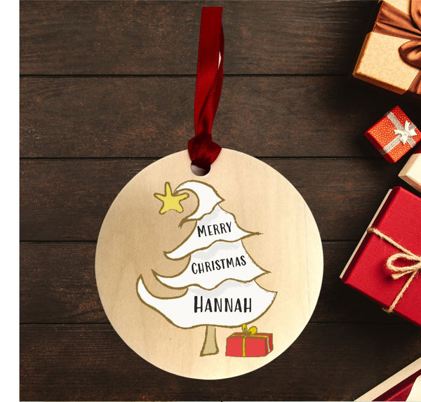 Merry Christmas Tree Personalised Decoration