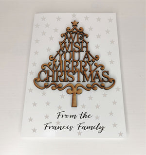 Personalised Wood Christmas Tree Card