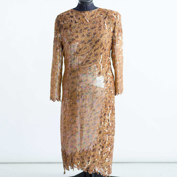Tan/Chocolate Sequin/Beaded Gown