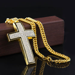 18K Gold Plated ICED out CROSS