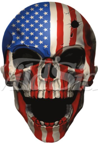 Ready to Press Transfer - Skull American Flag w/ Bullet Hole