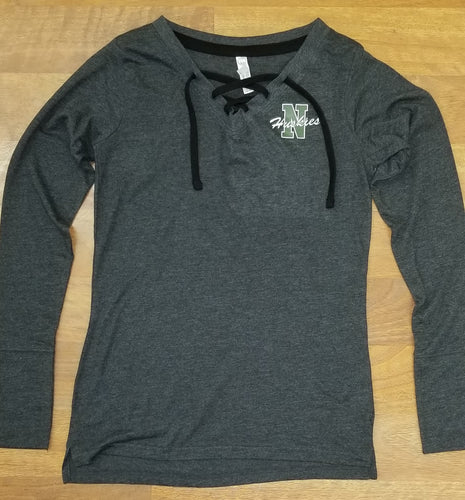 North Huskie Ladies Lace-Up Long Sleeve T-Shirt ('N' Logo)