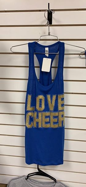 Women's Love Cheer Royal Blue Glitter Ideal T Tank Top