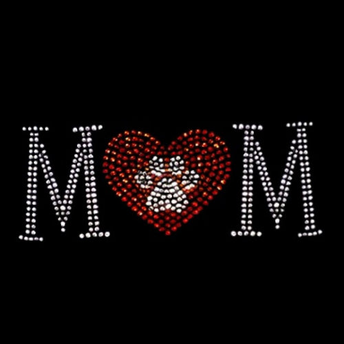 Ready to Press Transfer - Paw Print Mom Rhinestones