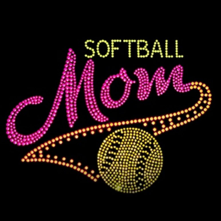 Ready to Press Transfer - Softball Mom Neon Rhinestuds
