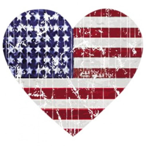Ready to Press Transfer - Heart Flag Distressed