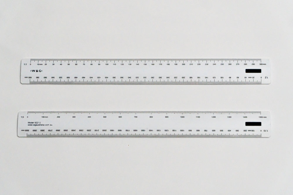 92212 Ratios: 1:1, 2, 5, 10 - Hand scale ruler, 300mm