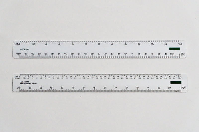 92312 Ratios: 1:125,250,400,800,1250,2500,4000,8000 - Hand scale ruler, 300mm