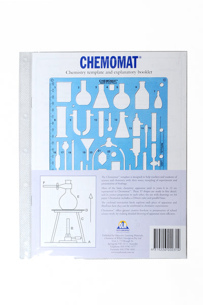 Chemomat template in storage wallet with instructions