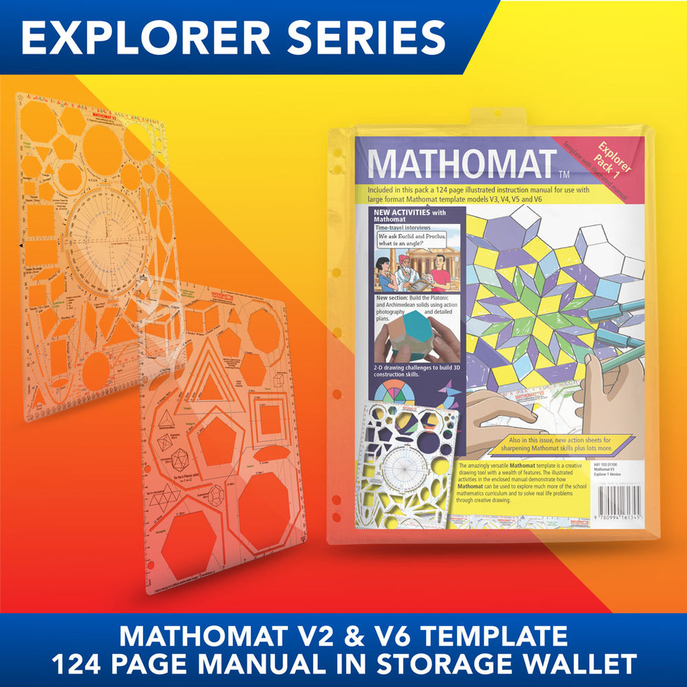 Mathomat V2 & V6 Geometry Templates (Explorer Pack) With 124 page illustrated student manual