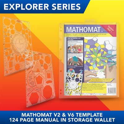 Mathomat V2 and V6 Geometry Templates (Explorer Pack) With 124 page illustrated student manual