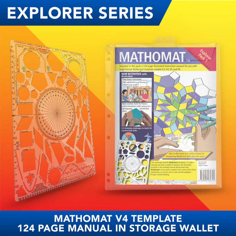 Mathomat V4 Geometry Template<br>(Explorer Pack) With 124 page illustrated student manual