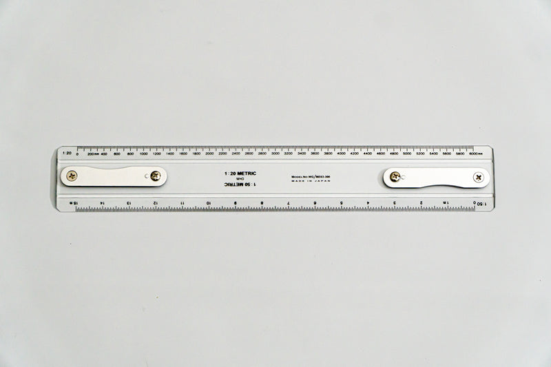 ME63-300 Drafting Machine Rule, 1:20,50. Length: 300mm with B2 chuck plate fitted