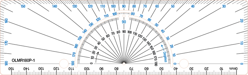 Rectangular protractor with ruler