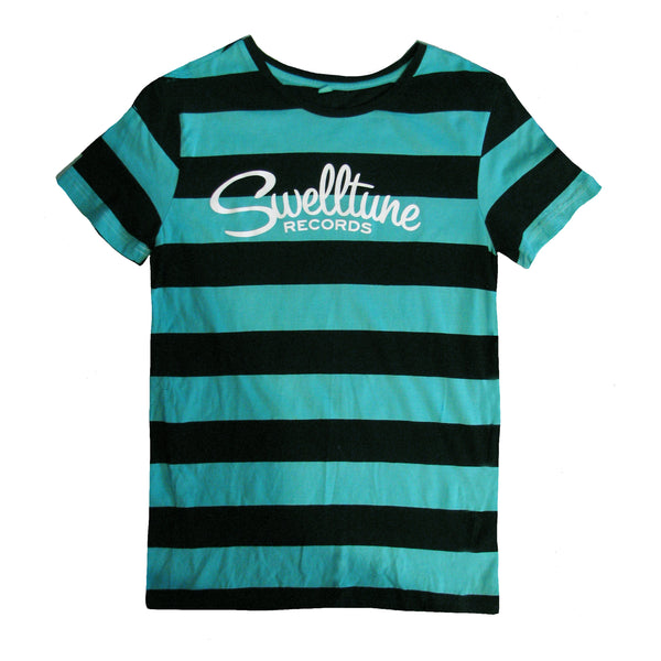 Swelltune Records Stripey Teal Logo Shirt - Men's