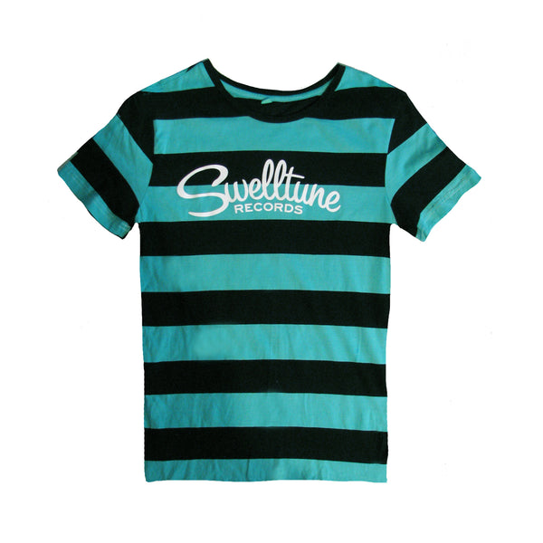 Swelltune Records Stripey Teal Logo Shirt - Women's