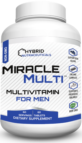 [ 110+ MiracleMulti Performance Blend ] ----- Best Multivitamin for Men | Non-GMO Vitamin Mineral Supplement w/ Probiotics Superfood Enzyme Blend for Optimized Heart, Prostate, Stamina, Energy - 60 Day Supply