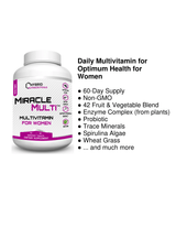 [ 110+ MiracleMulti Performance Blend ] ----- Advanced Multivitamin for Women | Non-GMO Vitamin Mineral Supplement w/ Probiotics Superfood Enzyme Blend for Optimized Heart, Stamina, Energy - 60 Day Supply