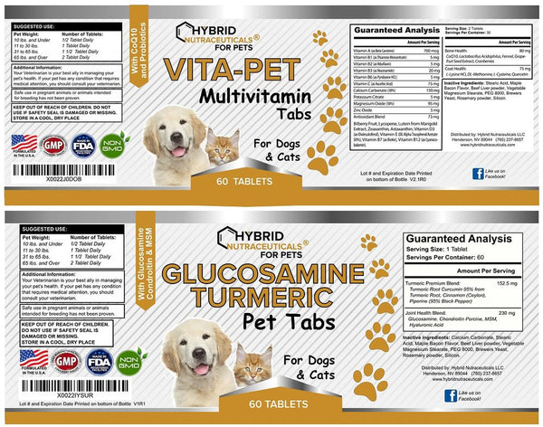 Total Pet Health - Perfect Combo of Vita-Pet Multivitamins Minerals + Turmeric Pet Tabs: (2 bottles)