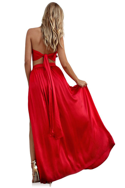 Rouge Satin Silk Wrap Two Piece