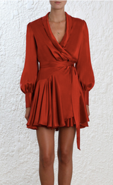 Sueded Wrap Mini Dress
