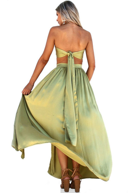 Olive Sueded Silk Wrap Two Piece