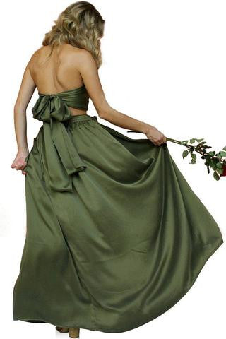 Forest Green Sueded Silk Wrap Two Piece