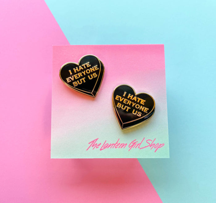 "Limited Edition Black Heart ""I hate everyone but us"" Best Friend Pin set!"