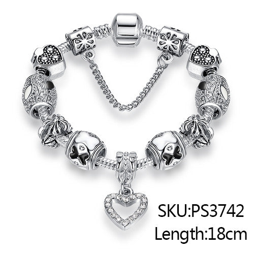 Silver Plated Crystal Charm Bracelet PS3307 - CaliforniaSelf